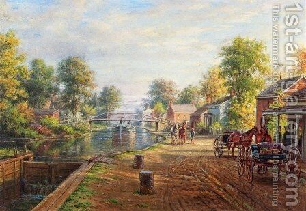 Scene along Delaware and Hudson Canal by Edward Lamson Henry - Reproduction Oil Painting