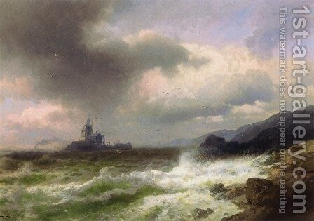 Saddle Rock Lighthouse, Maine by Herman Herzog - Reproduction Oil Painting