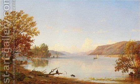 Artist Sketching on Greenwood Lake by Jasper Francis Cropsey - Reproduction Oil Painting