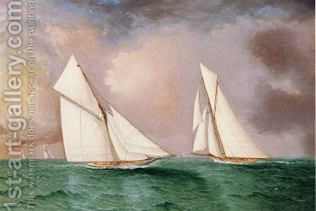 Vigilant and Valkyrie II in the 1893 America's Cup Race by James E. Buttersworth - Reproduction Oil Painting