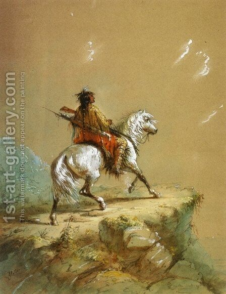 Crow Indian on the Lookout I by Alfred Jacob Miller - Reproduction Oil Painting