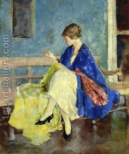 Blue Kimono by Charles Hawthorne - Reproduction Oil Painting