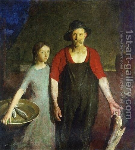 Fisherman and his Daughter by Charles Hawthorne - Reproduction Oil Painting