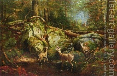 Deer in the Adirondacks by Arthur Fitzwilliam Tait - Reproduction Oil Painting