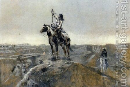 WAR by Charles Marion Russell - Reproduction Oil Painting
