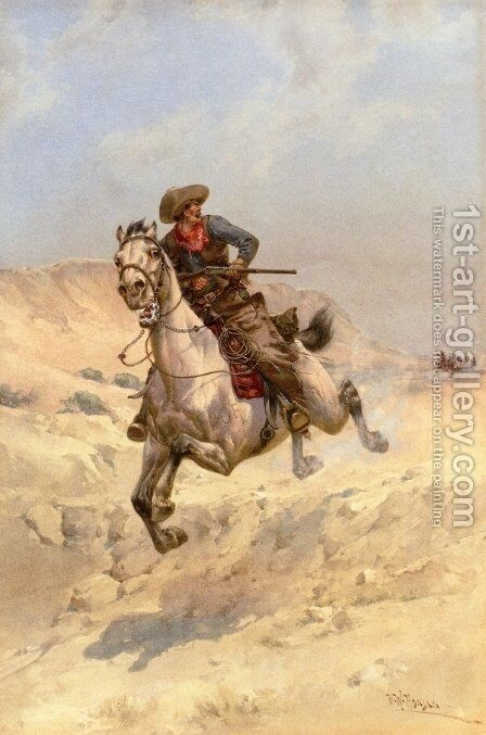 The Pursuit by Herman Wendleborg Hansen - Reproduction Oil Painting