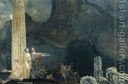 Builders of the Temple by Arthur Bowen Davies - Reproduction Oil Painting