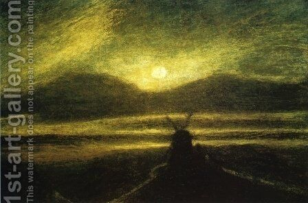 The Old Mill by Moonlight by Albert Pinkham Ryder - Reproduction Oil Painting