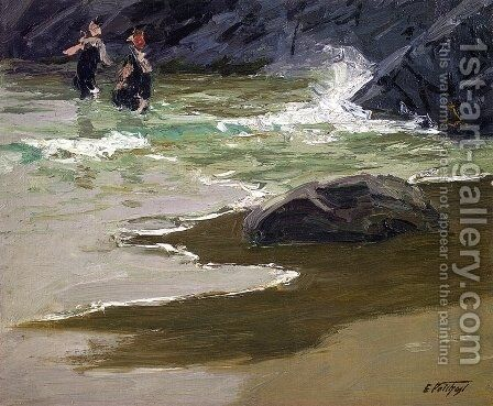 Bathers by a Rocky Coast by Edward Henry Potthast - Reproduction Oil Painting
