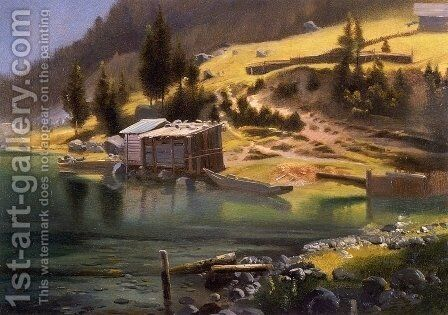 Fishing and Hunting Camp, Loring, Alaska by Albert Bierstadt - Reproduction Oil Painting