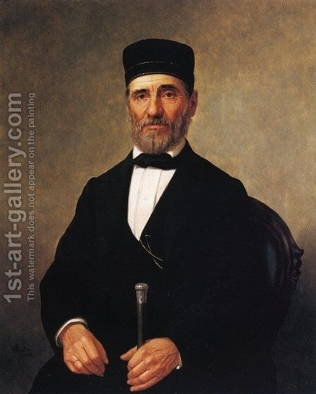 Portrait of a Rabbi (Rabbi Bernard Illowy?) by Henry Mosler - Reproduction Oil Painting
