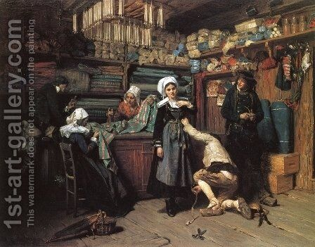 Buying the Wedding Trousseau by Henry Mosler - Reproduction Oil Painting