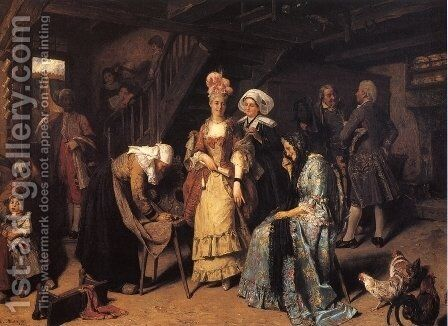 Visit of the Marquese by Henry Mosler - Reproduction Oil Painting