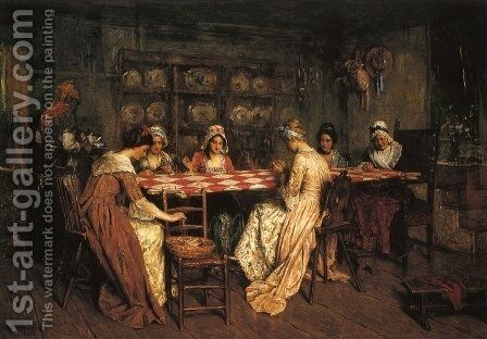 Quilting Bee by Henry Mosler - Reproduction Oil Painting