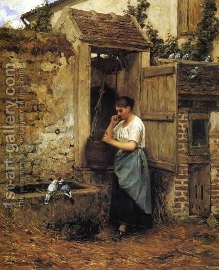 Peasant Girl and Doves by Henry Mosler - Reproduction Oil Painting