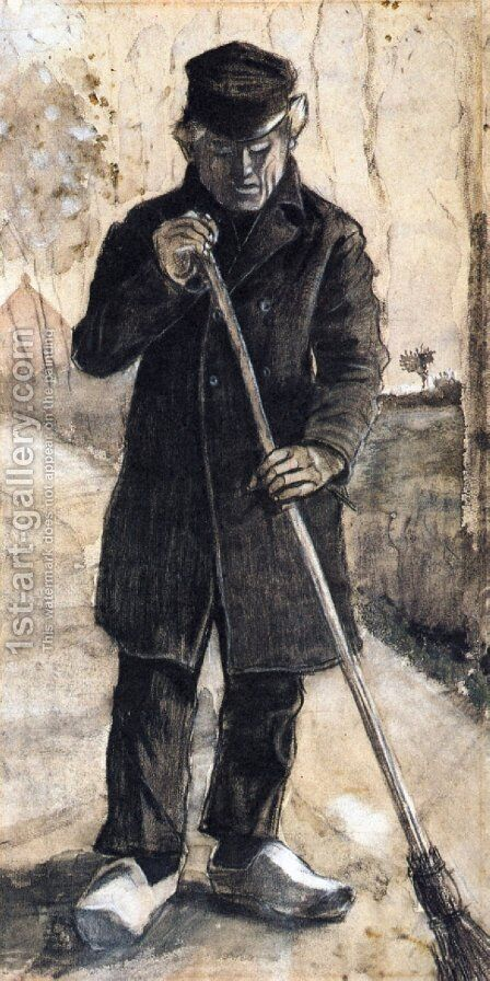 A Man with a Broom by Vincent Van Gogh - Reproduction Oil Painting