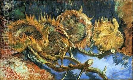 Still Life with Four Sunflowers by Vincent Van Gogh - Reproduction Oil Painting