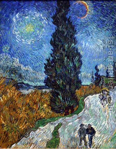 Cypress against a Starry Sky by Vincent Van Gogh - Reproduction Oil Painting