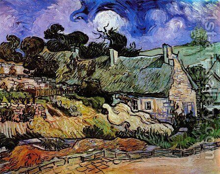 Houses with Thatched Roofs, Cordeville by Vincent Van Gogh - Reproduction Oil Painting