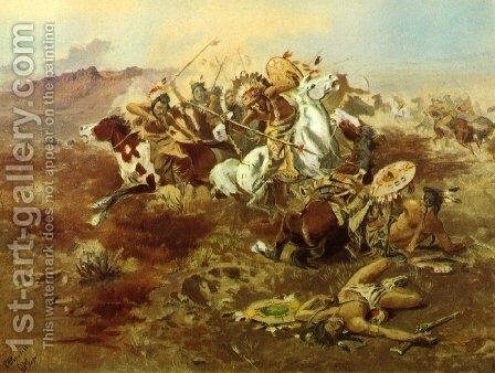 Indian Fight, #1 by Charles Marion Russell - Reproduction Oil Painting