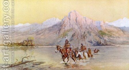 Crossing the Missouri, #1 by Charles Marion Russell - Reproduction Oil Painting