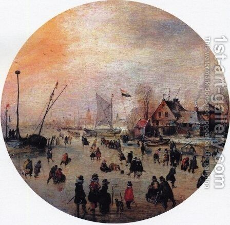 Winter Landscape with Skaters I by Hendrick Avercamp - Reproduction Oil Painting