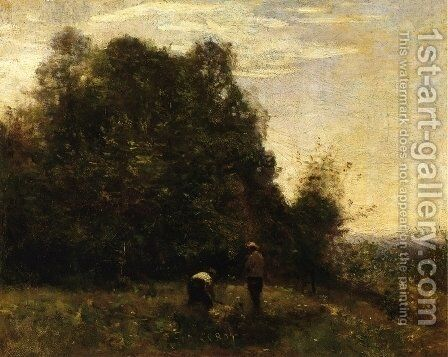 Two Figures - Working in the Fields by Jean-Baptiste-Camille Corot - Reproduction Oil Painting