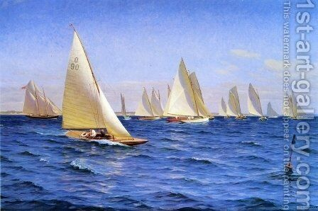 The Race by Axel Johansen - Reproduction Oil Painting