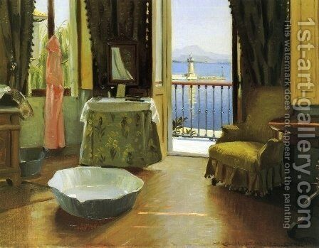 A View of Lake Garda at Desenzano, Italy by Harald Slott-Moller - Reproduction Oil Painting