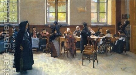 The Knitting Room by Hubert Vos - Reproduction Oil Painting