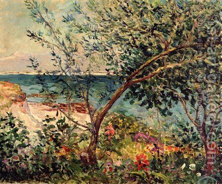 Monsieur Maufra's Garden by the Sea by Maxime Maufra - Reproduction Oil Painting