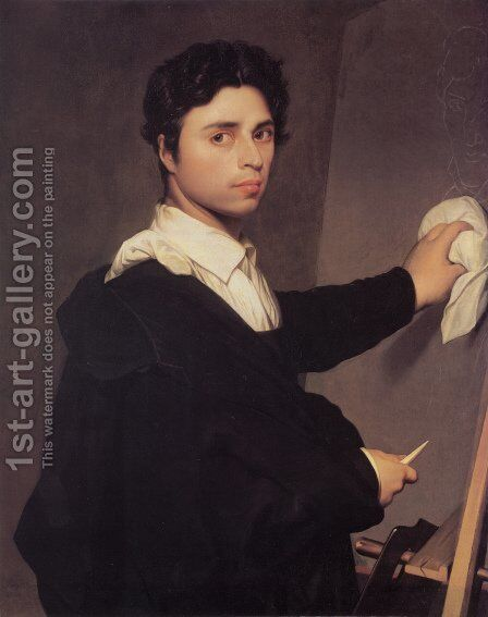 Self Portrait at the Easel by Jean Auguste Dominique Ingres - Reproduction Oil Painting