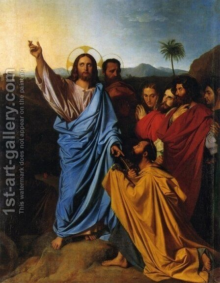 Christ Giving Peter the Keys of Paradise by Jean Auguste Dominique Ingres - Reproduction Oil Painting
