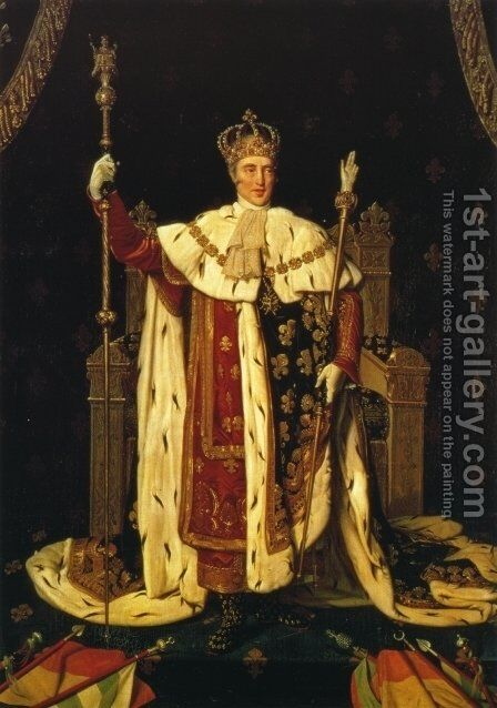 Charles X inn his Coronation Robes by Jean Auguste Dominique Ingres - Reproduction Oil Painting