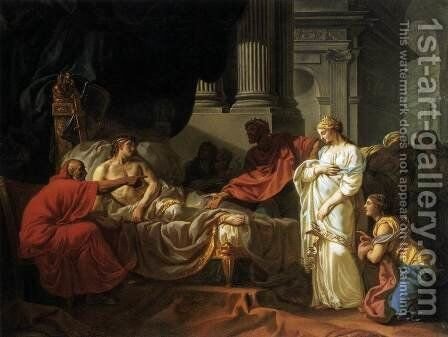 Antiochus and Stratonice by Jacques Louis David - Reproduction Oil Painting