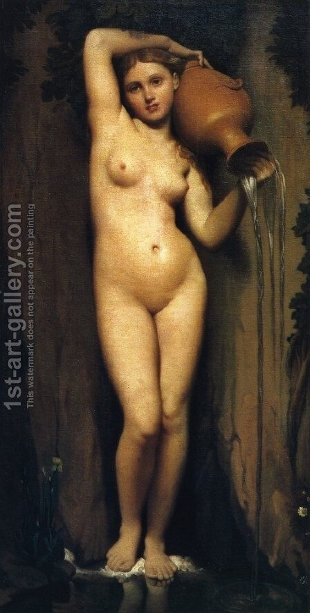 The Sorce by Jean Auguste Dominique Ingres - Reproduction Oil Painting