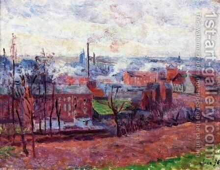 Landscape at Marchiennes by Maximilien Luce - Reproduction Oil Painting