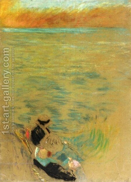 Sea at Sunset, Women on the Shore by Edouard  (Jean-Edouard) Vuillard - Reproduction Oil Painting