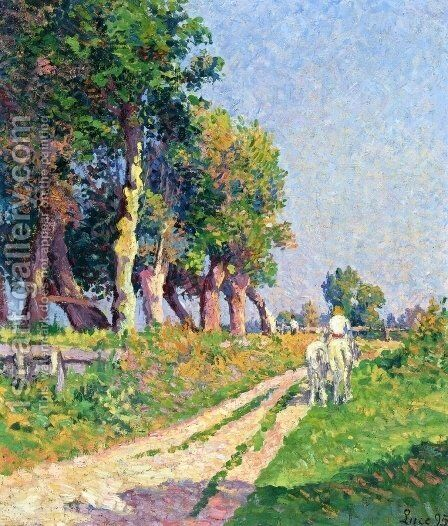 Eragny, Horse on a Sunny Path by Maximilien Luce - Reproduction Oil Painting