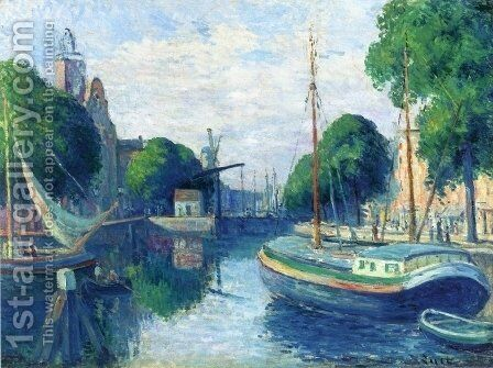 Barges on a Canal at Rotterdam by Maximilien Luce - Reproduction Oil Painting