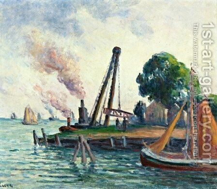 The Port of Amsterdam by Maximilien Luce - Reproduction Oil Painting