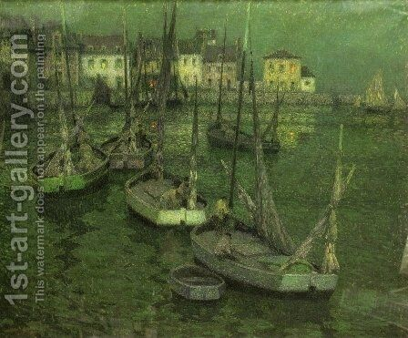 Fishing Boats by Henri Eugene Augustin Le Sidaner - Reproduction Oil Painting