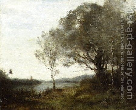 The Walk around the Pond by Jean-Baptiste-Camille Corot - Reproduction Oil Painting