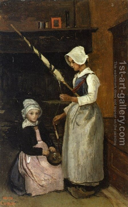 Peasants from Mur by Jean-Baptiste-Camille Corot - Reproduction Oil Painting