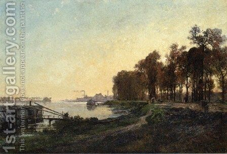 Beside the River by Alexandre-Rene Vernon - Reproduction Oil Painting