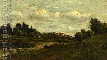 Fisherman on the Banks of the River by Charles-Francois Daubigny - Reproduction Oil Painting