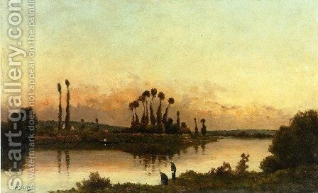 Washerwomen in an Extensive River Landscape by Hippolyte Camille Delpy - Reproduction Oil Painting
