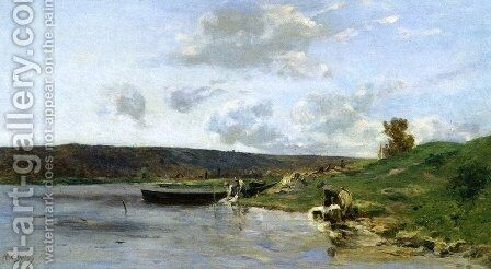 Laundresses by the Water by Hippolyte Camille Delpy - Reproduction Oil Painting