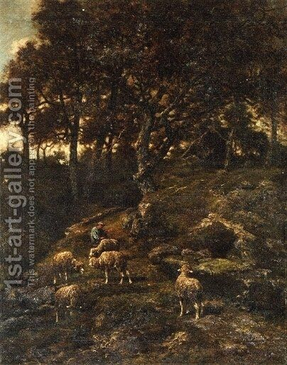 Shepherd and his Flock by Charles Émile Jacque - Reproduction Oil Painting