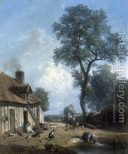 Figures in a Farmyard by Constant Troyon - Reproduction Oil Painting